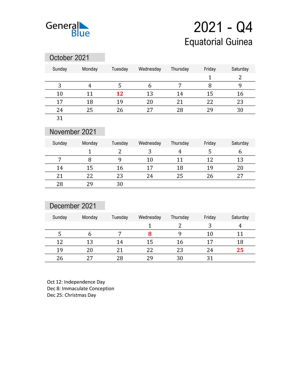 Equatorial Guinea Quarter 4 2021 Calendar