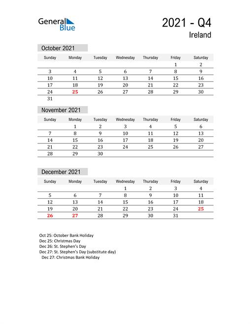Ireland Quarter 4 2021 Calendar