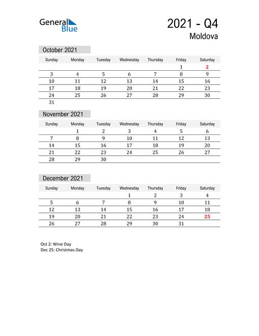 Moldova Quarter 4 2021 Calendar