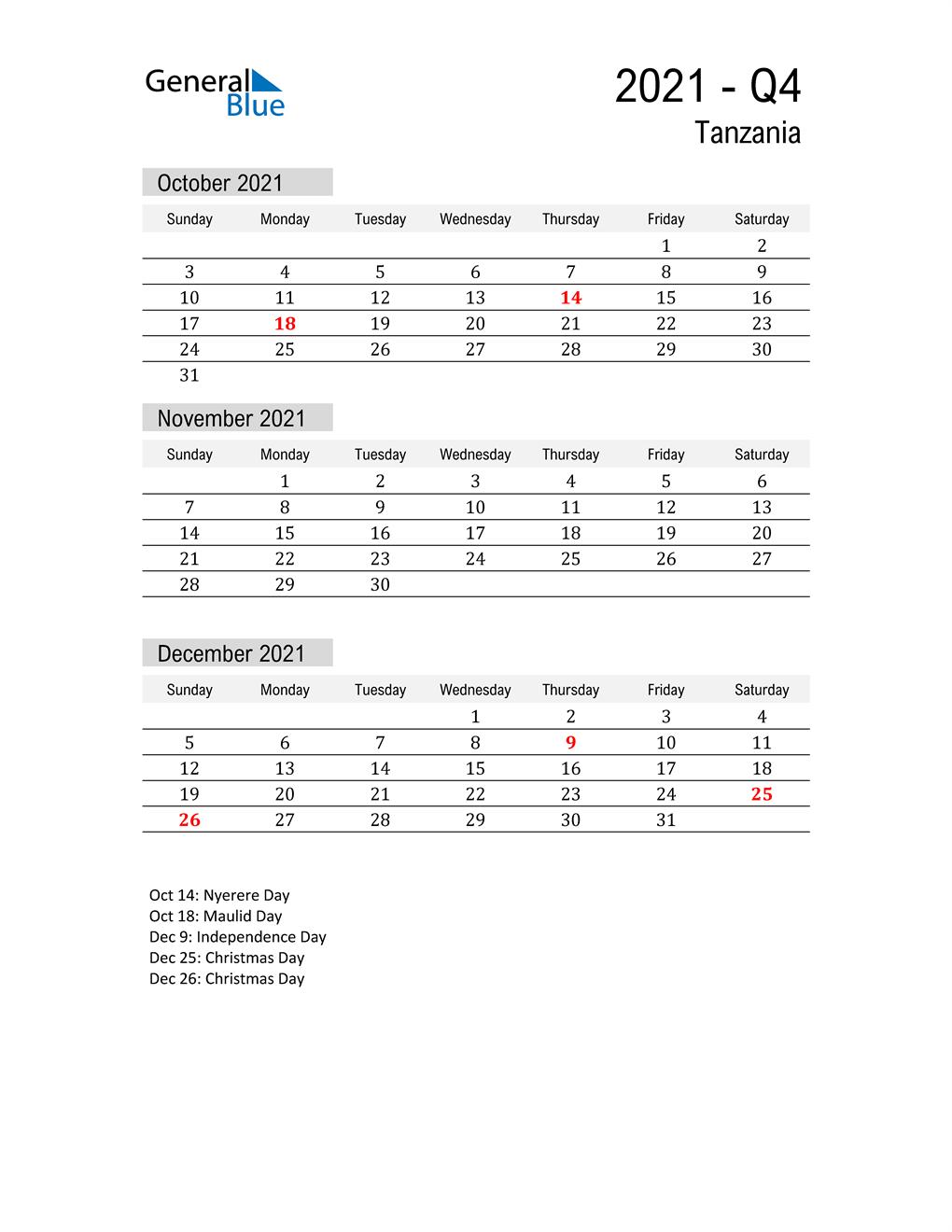Tanzania Quarter 4 2021 Calendar