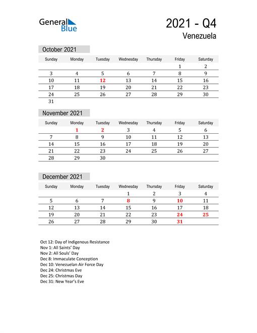 Venezuela Quarter 4 2021 Calendar