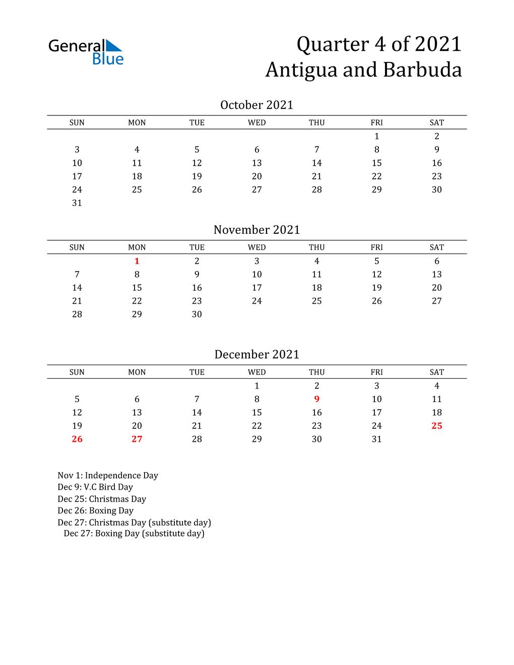 2021 Antigua and Barbuda Quarterly Calendar