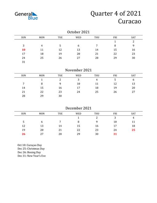 2021 Curacao Quarterly Calendar