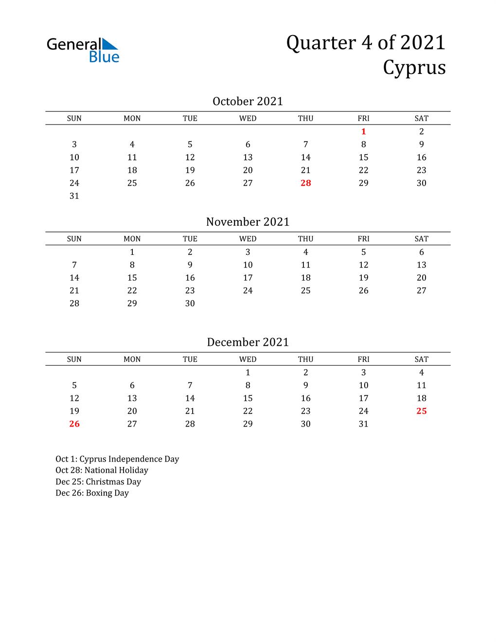 2021 Cyprus Quarterly Calendar