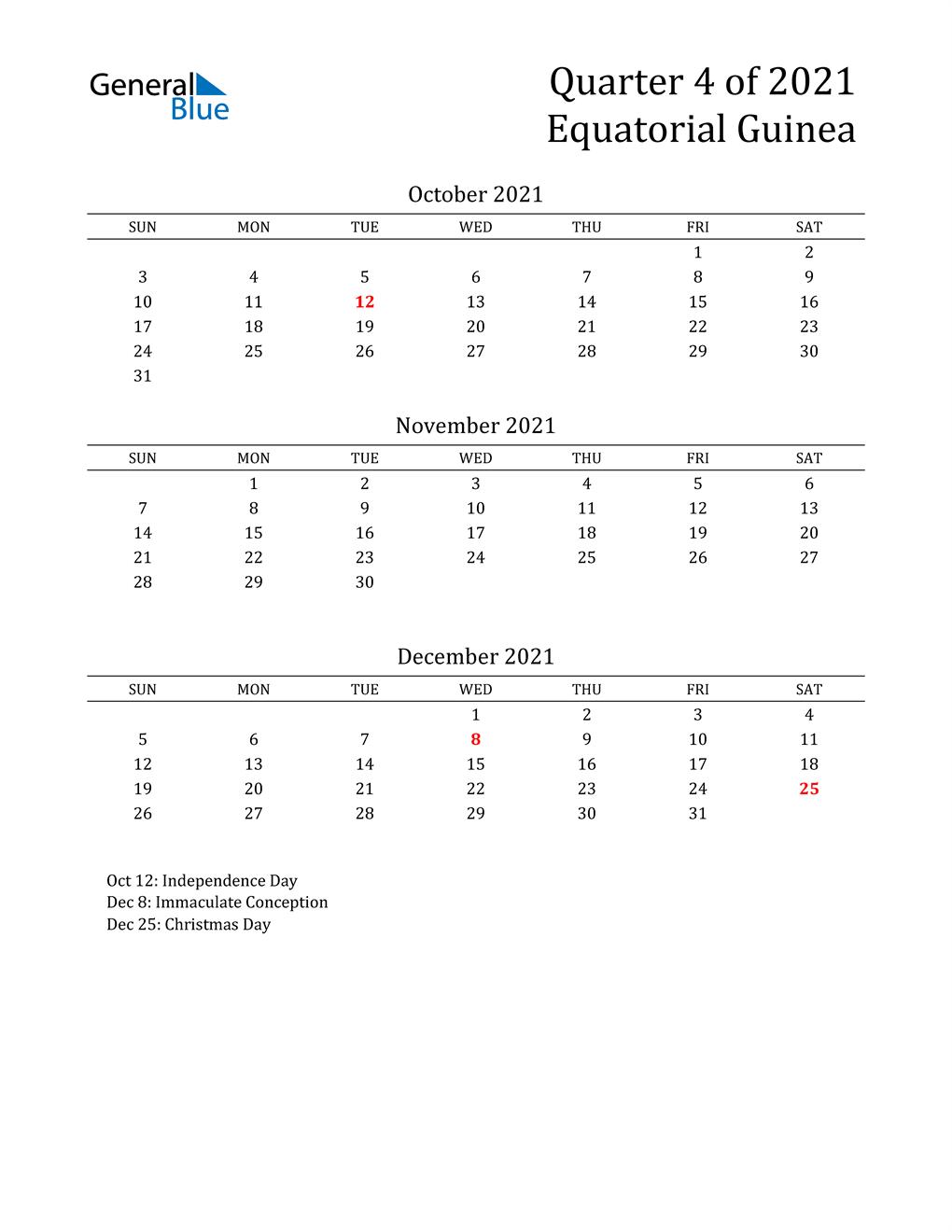 2021 Equatorial Guinea Quarterly Calendar