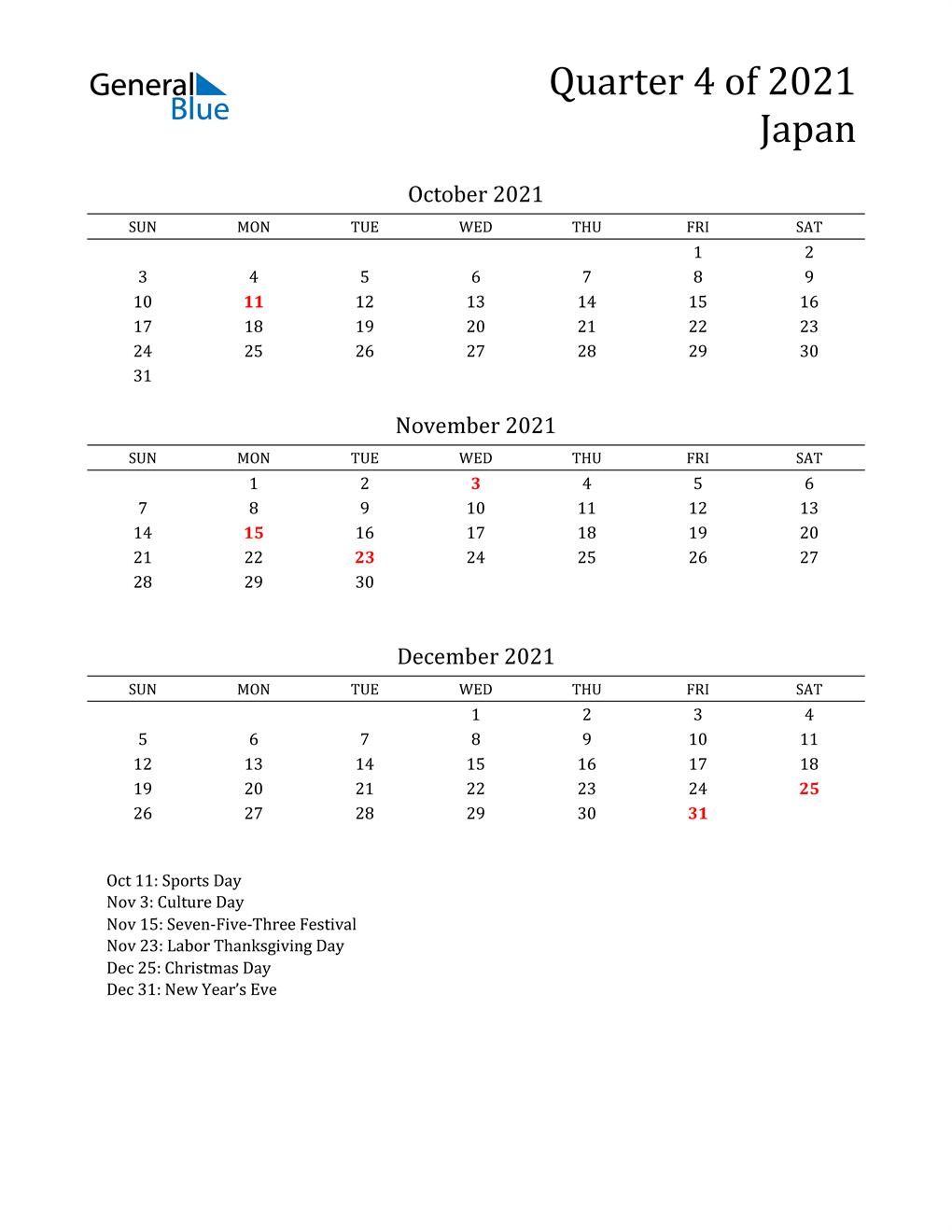2021 Japan Quarterly Calendar