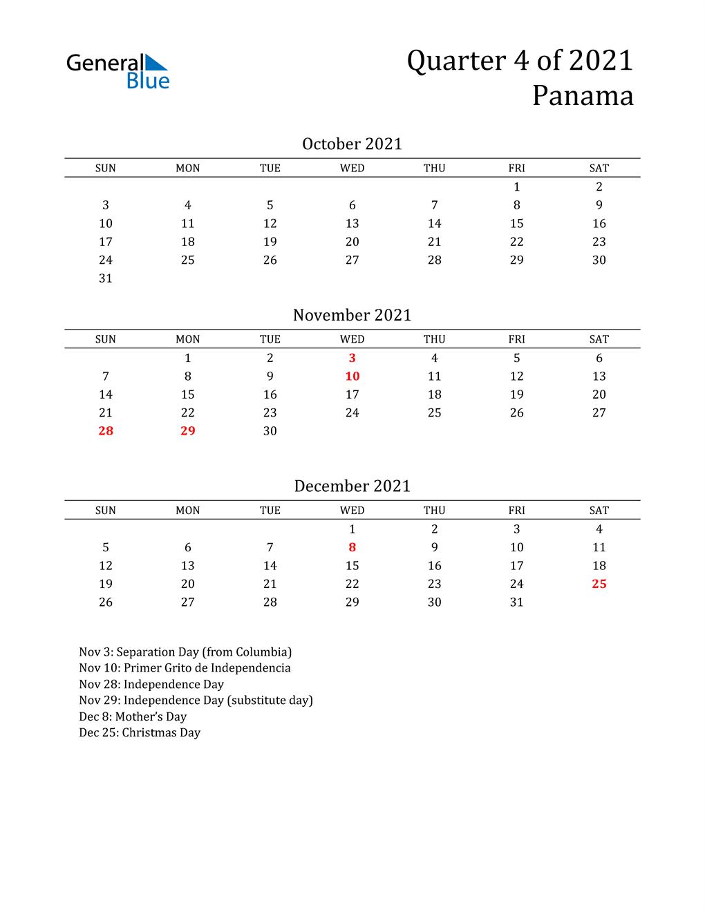 2021 Panama Quarterly Calendar