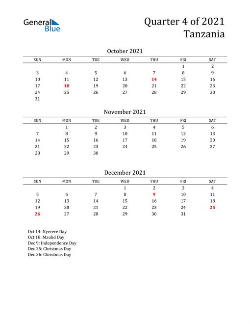 2021 Tanzania Quarterly Calendar