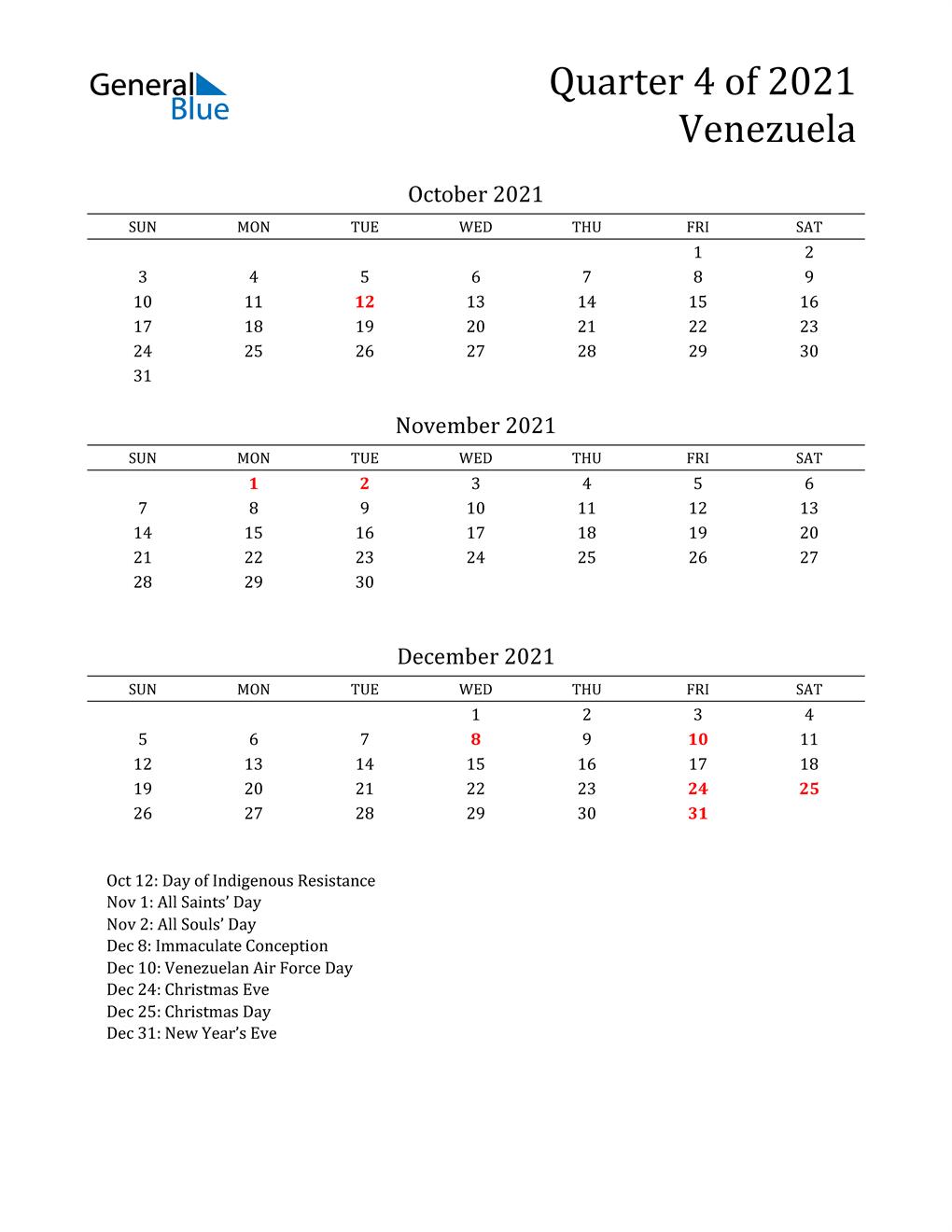 2021 Venezuela Quarterly Calendar