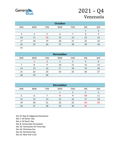 Three-Month Planner for Q4 2021 with Holidays