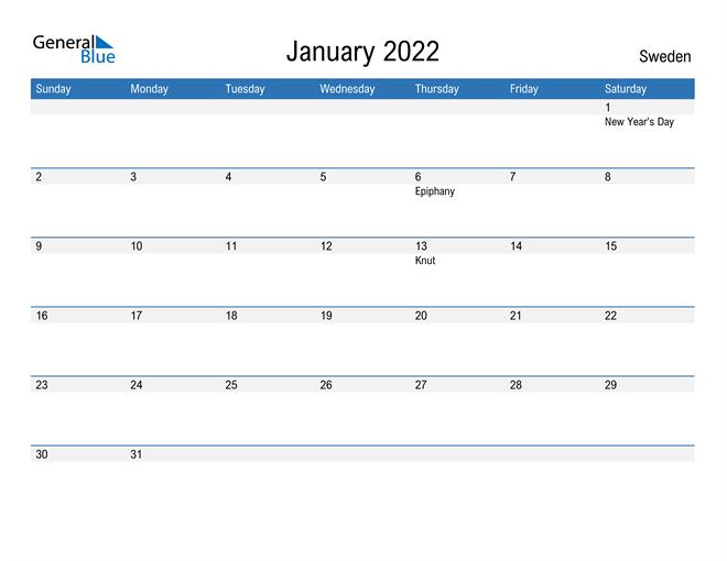 Fillable January 2022 Calendar