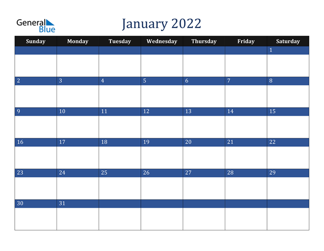 Image of January 2022 Stylish Dark Blue Calendar in PDF, Word and Excel Calendar
