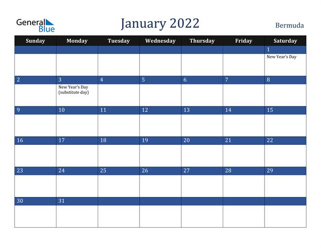 January 2022 Bermuda Calendar