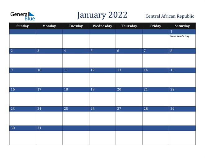 January 2022 Central African Republic Calendar