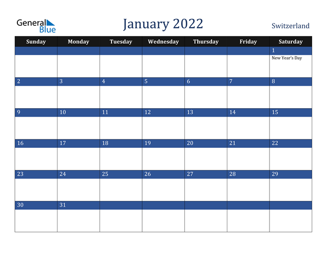 January 2022 Switzerland Calendar
