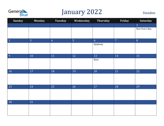 January 2022 Sweden Calendar