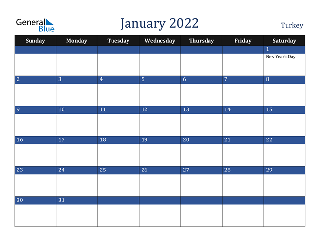 Image of January 2022 Stylish Dark Blue Calendar in PDF, Word and Excel Calendar