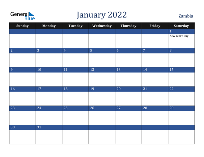 January 2022 Zambia Calendar