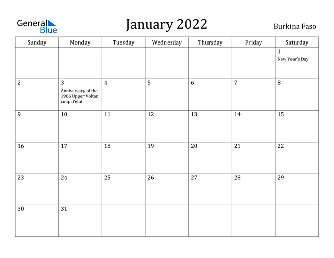 January 2022 Calendar - Burkina Faso