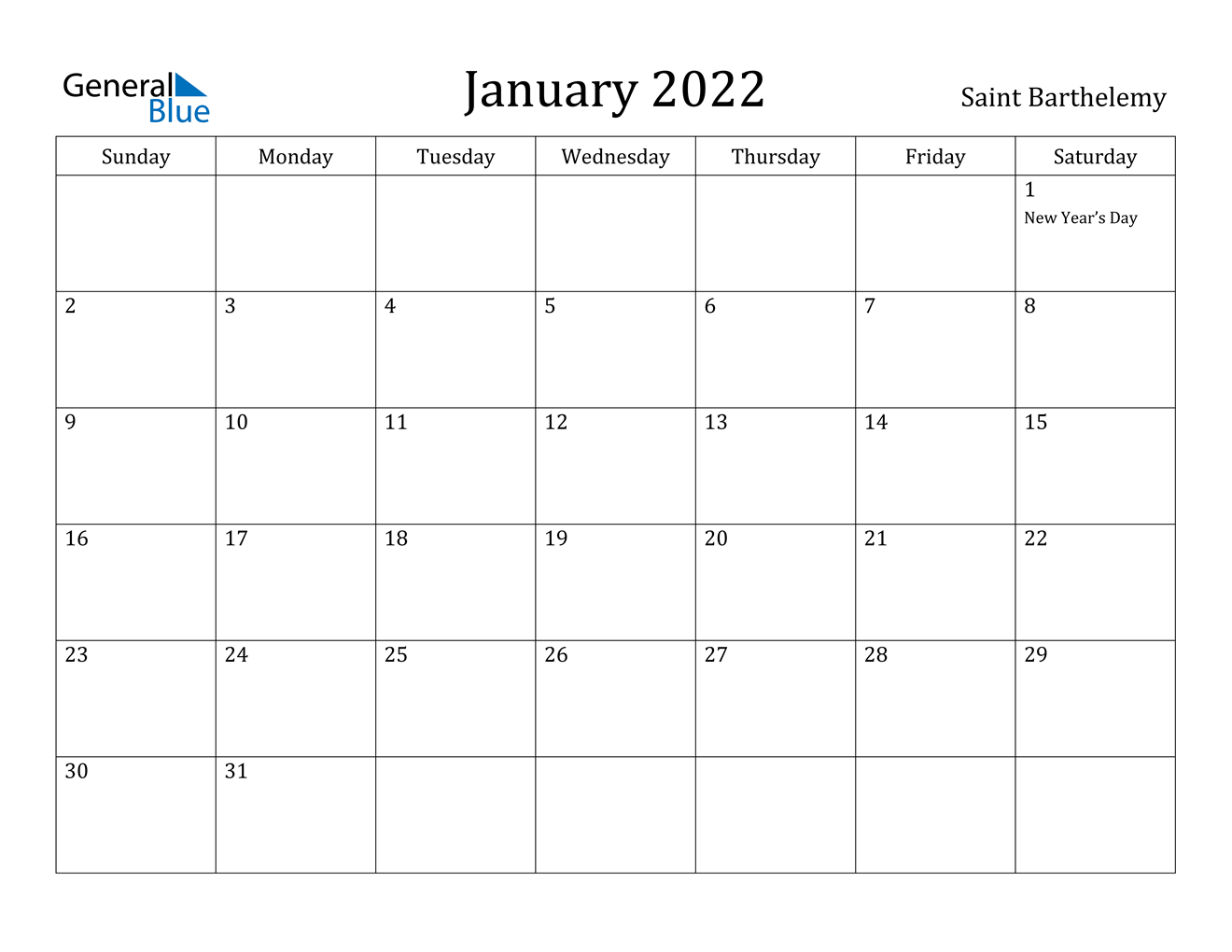 January 2022 Calendar - Saint Barthelemy
