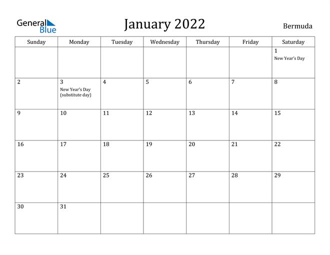January 2022 Calendar Bermuda