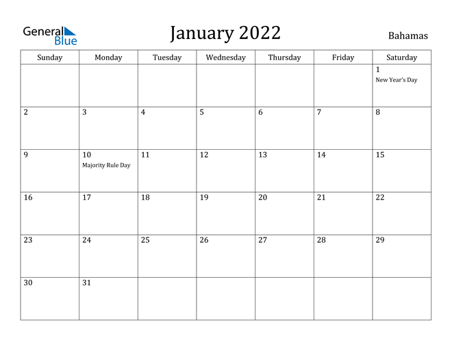 Image of January 2022 Bahamas Calendar with Holidays Calendar