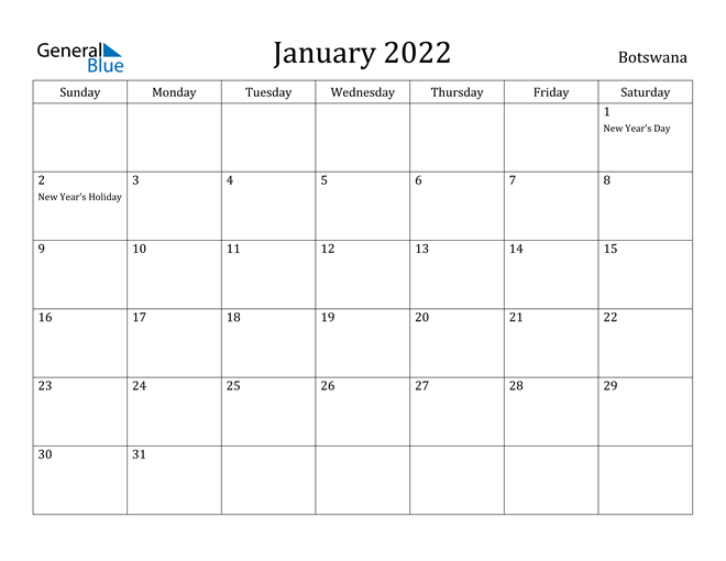 Image of January 2022 Botswana Calendar with Holidays Calendar