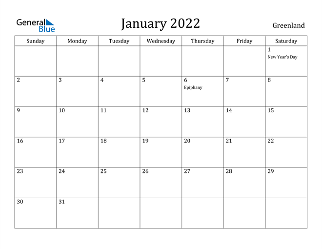 Image of January 2022 Greenland Calendar with Holidays Calendar