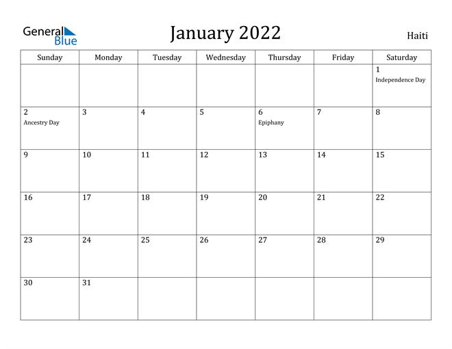 Image of January 2022 Haiti Calendar with Holidays Calendar