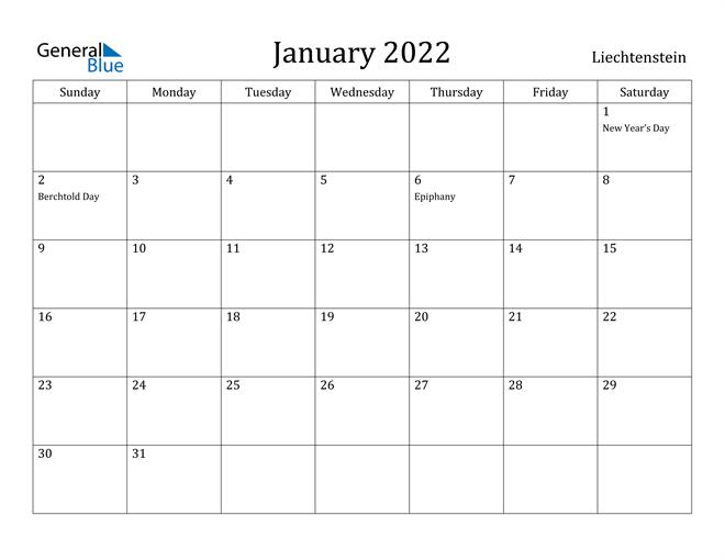 Image of January 2022 Liechtenstein Calendar with Holidays Calendar