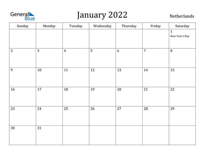 Image of January 2022 Netherlands Calendar with Holidays Calendar