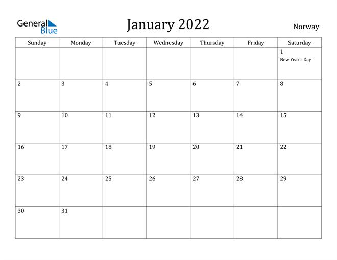 Image of January 2022 Norway Calendar with Holidays Calendar