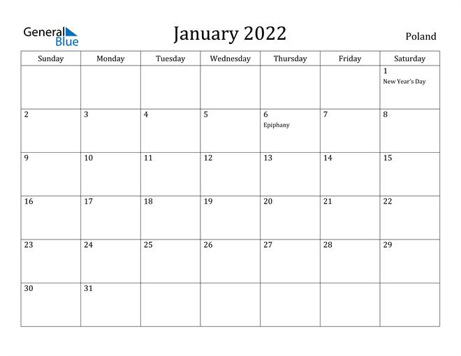 Image of January 2022 Poland Calendar with Holidays Calendar