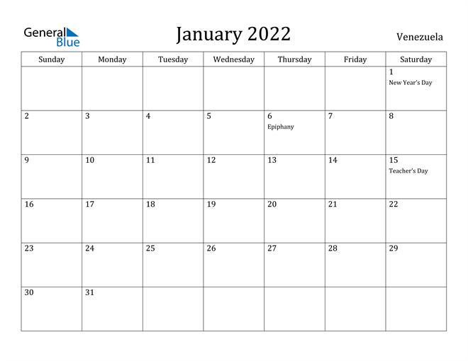 Image of January 2022 Venezuela Calendar with Holidays Calendar