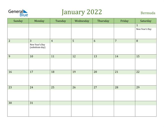 January 2022 Calendar with Bermuda Holidays