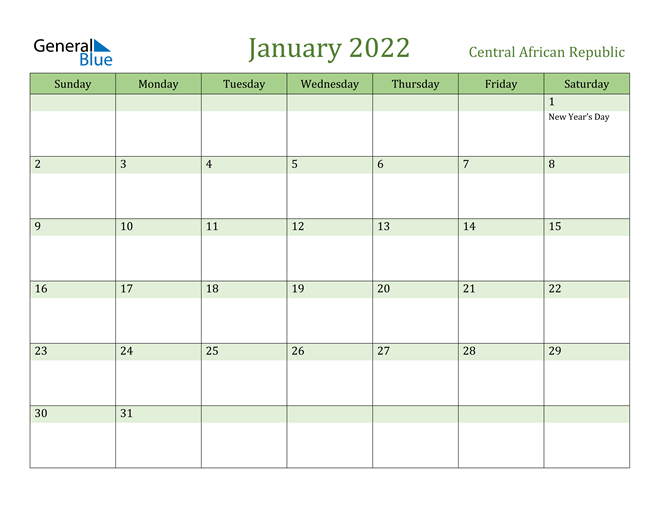 January 2022 Calendar with Central African Republic Holidays