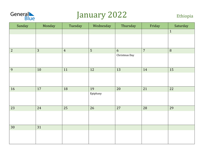 Ethiopia January 2022 Calendar With Holidays
