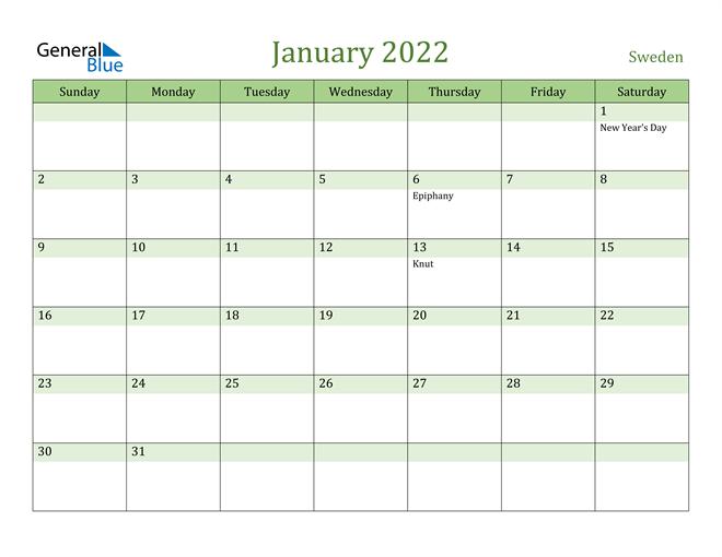 January 2022 Calendar with Sweden Holidays