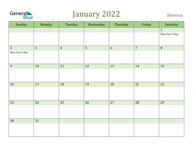 Image of January 2022 Cool and Relaxing Green Calendar Calendar