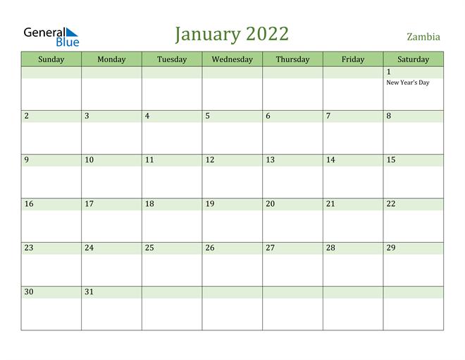 January 2022 Calendar with Zambia Holidays