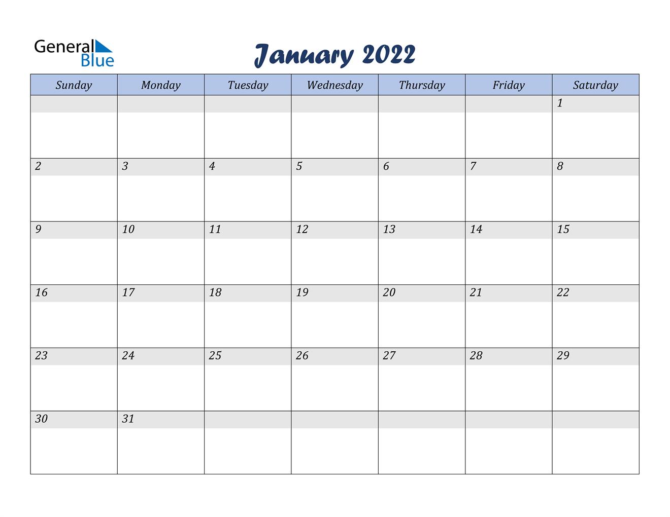 January 2022 Calendar - PDF Word Excel