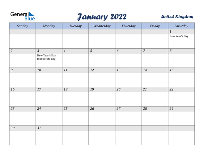 Image of January 2022 Italicized and Cool Blue, A Fun Calendar in PDF, Word and Excel Calendar