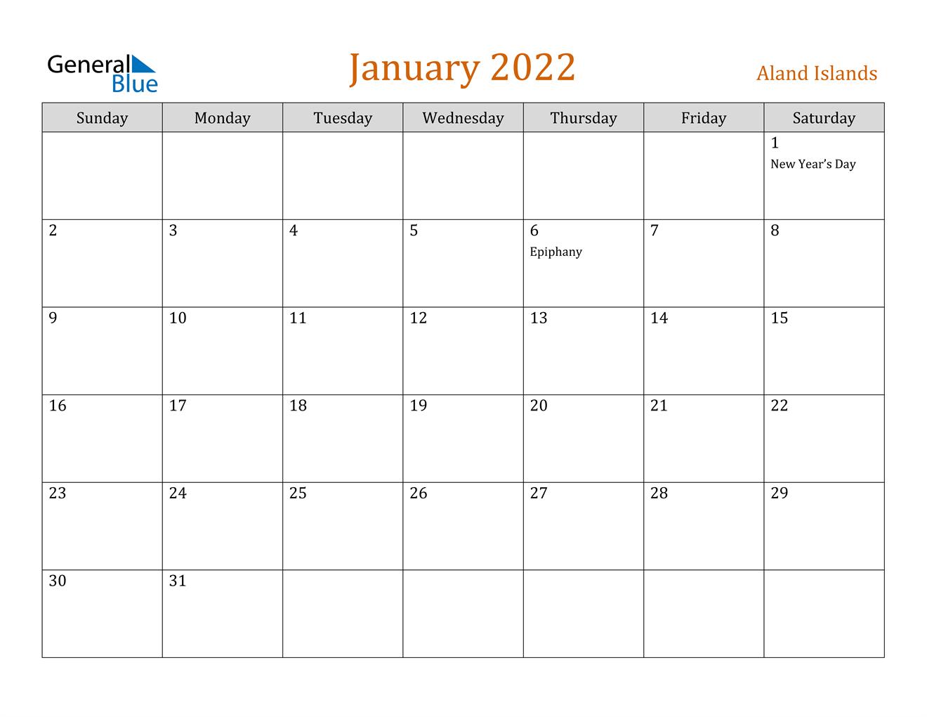 January 2022 Calendar - Aland Islands
