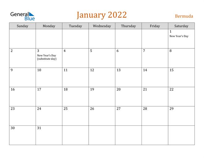 January 2022 Holiday Calendar