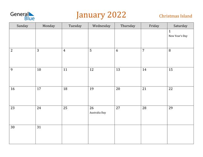 January 2022 Calendar - Christmas Island