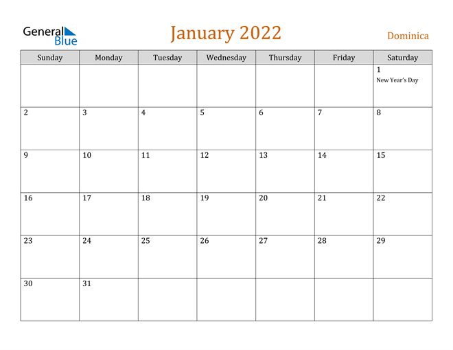 January 2022 Calendar - Dominica