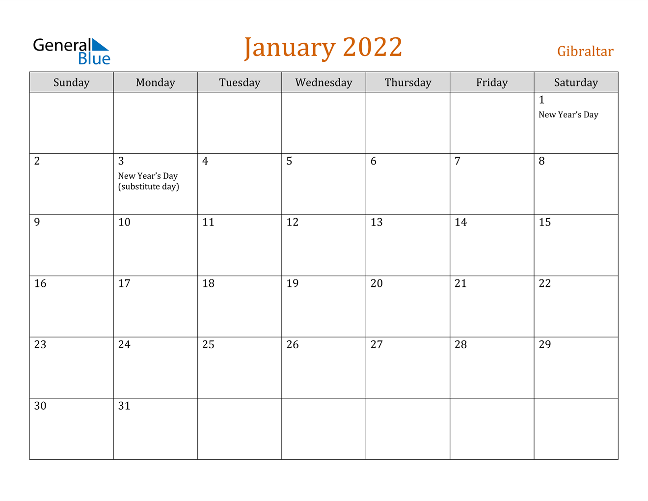 January 2022 Calendar - Gibraltar