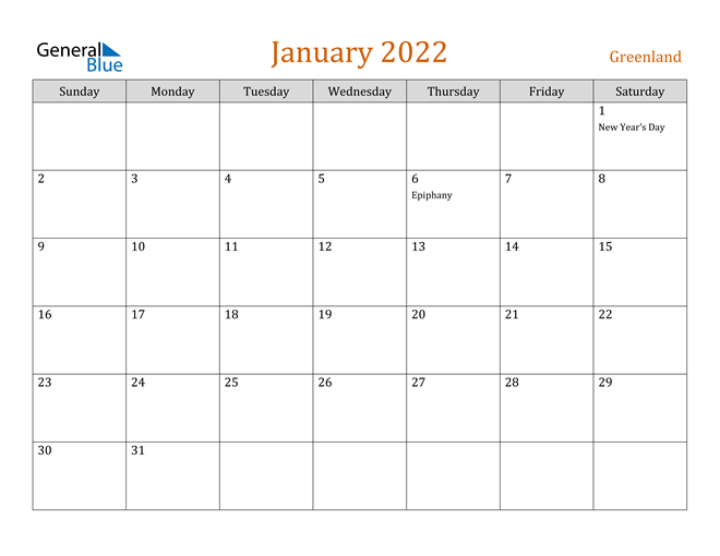 Image of January 2022 Contemporary Orange PDF, Word and Excel Calendar Calendar