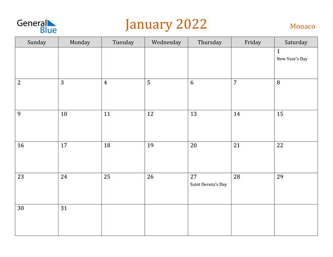 January 2022 Calendar - Monaco