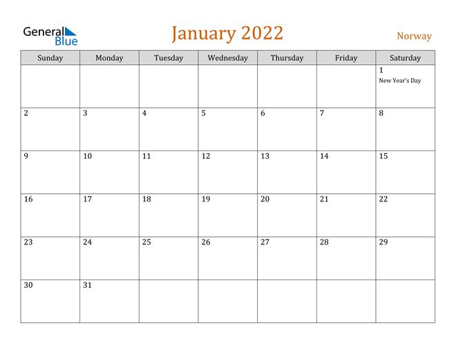 Image of January 2022 Contemporary Orange PDF, Word and Excel Calendar Calendar